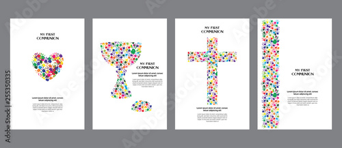 Foto Classic, universal kids hand prints rainbow religious template poster, flyer, invitation card My first communion