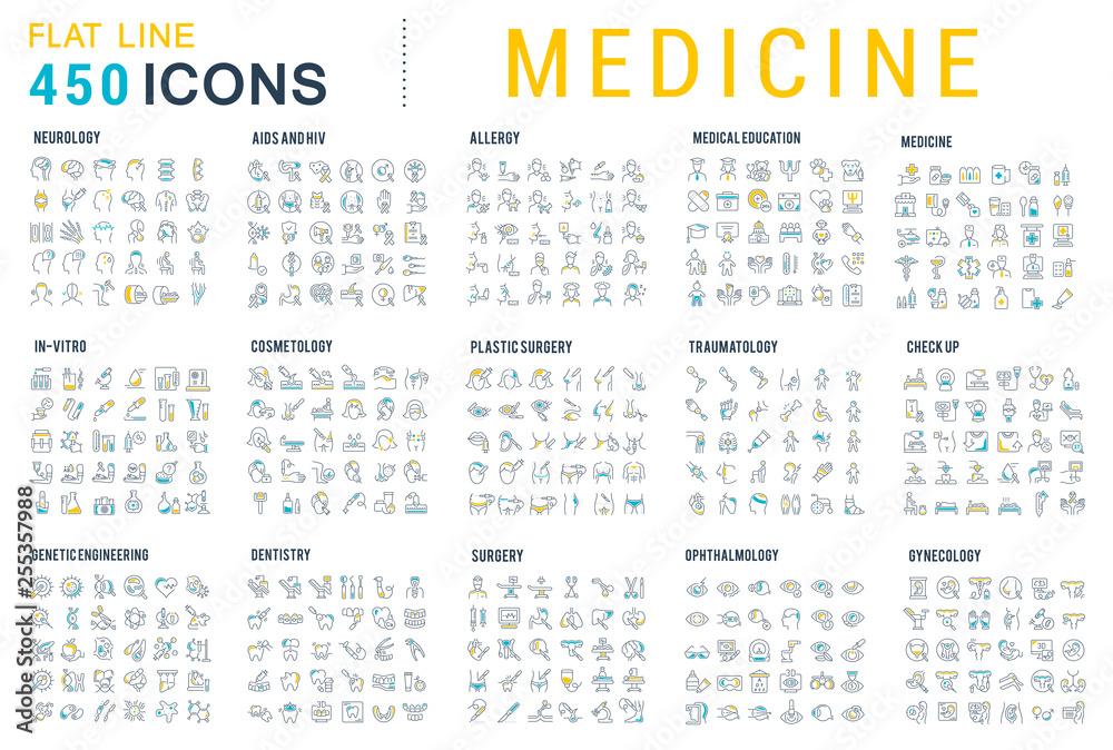 Fototapety, obrazy: Set Vector Line Icons of Medicine