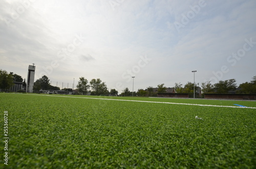 Fotografie, Obraz  newly laid artificial turf, football pitch on the football stadium
