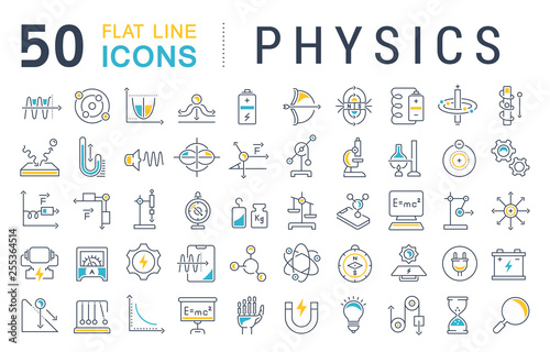 Valokuvatapetti Set Vector Line Icons of Physics.