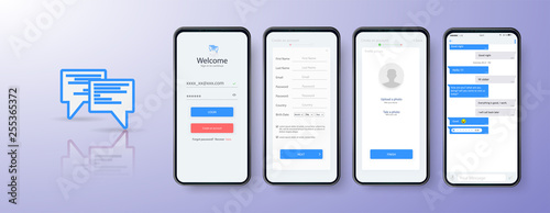 Design Mobile App login. UI, UX and GUI layout. Set of user registration screens, account sign in. Mobile Chat App - fototapety na wymiar