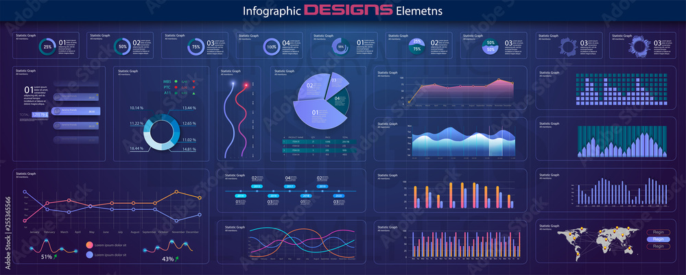 Fototapeta  Modern network management data screen with colored charts and diagrams with steps, options, parts or processes. Diagram template and chart graph, graphic information visualization illustration