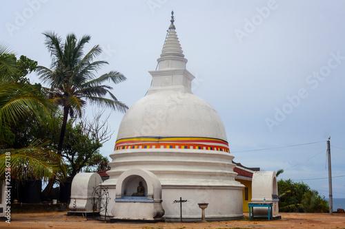 Small white stupa in Unawatuna in Sri Lanka