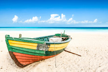 Summer Boat On Beach And Sea Landscape