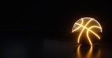 Fototapeta sport - Futuristic Basketball Ball With Orange Neon Light - 3D Illustration
