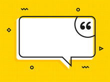 Quote Text Bubble. Commas, Note, Message And Comment Vector