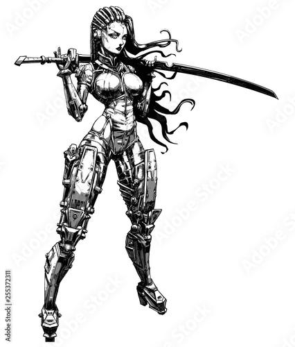 Fotografia Beautiful cyborg girl with katana