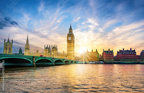 Poster Londen London cityscape with Big Ben and City of Westminster Abbey bridge in sunset light, in United Kingdom of England
