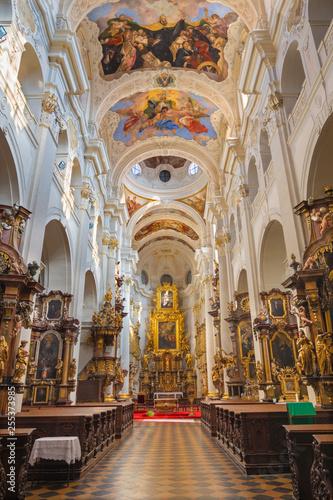 PRAGUE, CZECH REPUBLIC - OCTOBER 12, 2018: The baroque church kostel Svatého Tomáše with the frescoes by Václav Vavřinc Reiner (1689 - 1743).