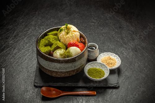 Fotografía 抹茶寒天アイスクリーム Japanese foods green tea agar ice