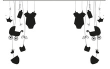 Baby Newborn Hanging Baby Boy Baby Girl Symbols Illustration Black And White