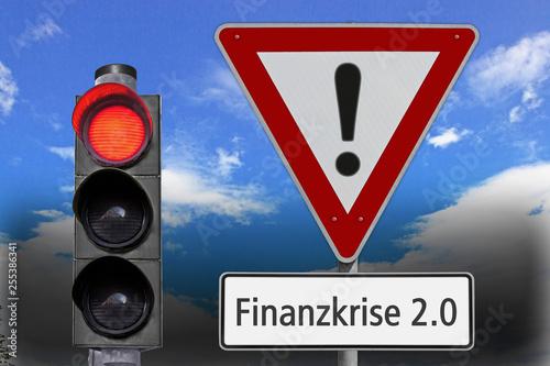 Fotografía  Finanzkrise 2.0, Vorsicht, Signal auf Rot, düstere Aussicht,