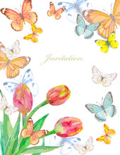 Floral Invitation Card With Lo...