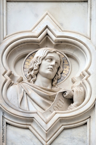 Photo  Joel prophet, relief on the facade of Basilica of Santa Croce (Basilica of the H