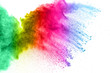 Multicolored powder explosion on white background.