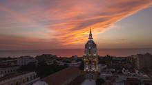 Vista Aérea De Cartagena En El Atardecer