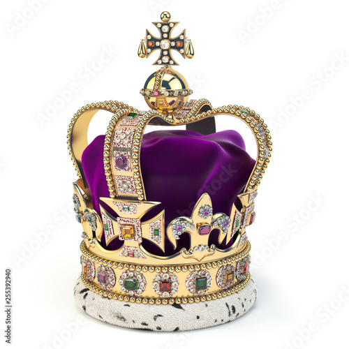 Golden crown with jewels isolated on white. English royal symbol of UK monarchy. Wall mural