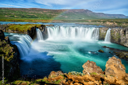 The Godafoss (Icelandic: waterfall of the gods) is a famous waterfall in Iceland. The breathtaking landscape of Godafoss waterfall attracts tourist to visit the Northeastern Region of Iceland. - 255393154