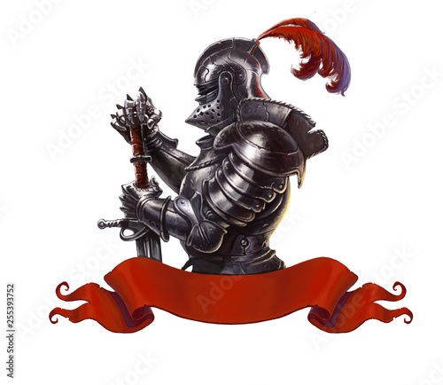Fényképezés Medieval knight with long sword realistic isolated
