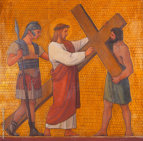 PRAGUE, CZECH REPUBLIC - OCTOBER 17, 2018: The painting Jesus accepts his cross in the church kostel Svatého Cyrila Metodeje by S. G. Rudl (1935).