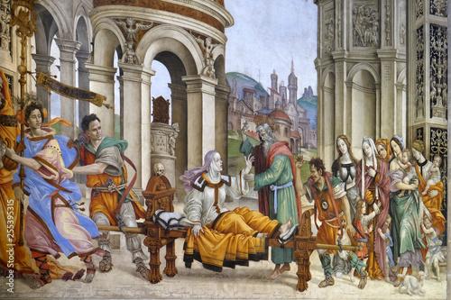 Photo Saint John the Evangelist Resurrecting Drusiana, fresco by Filippino Lippi in th