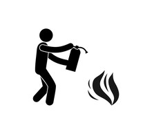 Fire Fighting Icon, Pictogram Man With Fire Extinguisher Puts Out Fire, Isolated Symbol
