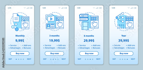 Fotografering  Subscription prices onboarding mobile app screens templates
