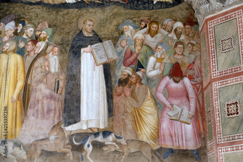 Photo Saints Peter the Martyr and Thomas Aquinas Refute the Heretics, fresco by Andrea