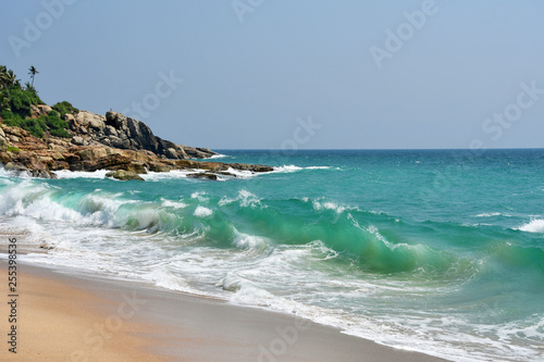 Photo India, Kerala. Beach of the Indian ocean in spring