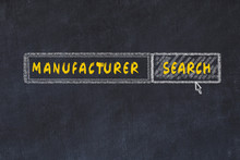 Chalk Board Sketch Of Search Engine. Concept Of Searching For Manufacturer