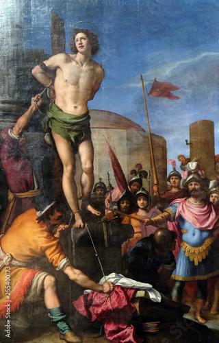 Fotografie, Obraz  Martyrdom of saint Sebastian altarpiece in the Basilica di San Lorenzo in Floren