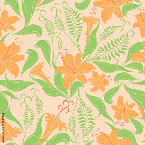Photo sur Toile Draw Floral Delicate Springtime Seamless Pattern Vector Textile Design