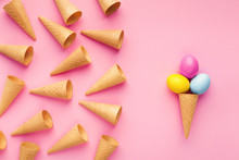 Conceptual Bright Easter Background With Waffle Cones