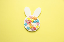 Easter White Bunny On A Yellow...