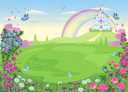 Obraz na plátně Fairytale background with flower meadow