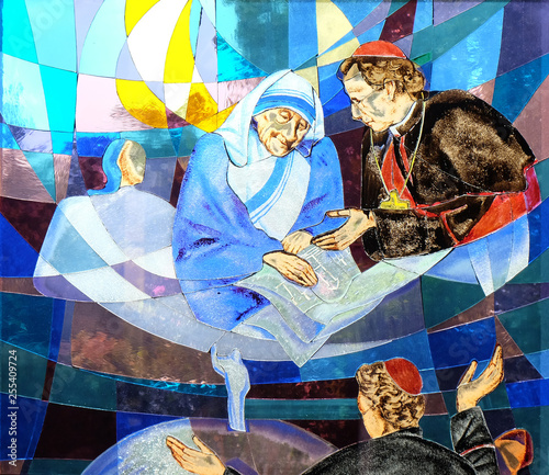 Mother Teresa, stained glass window in St Paul's Cathedral in Tirana, Albania Canvas Print