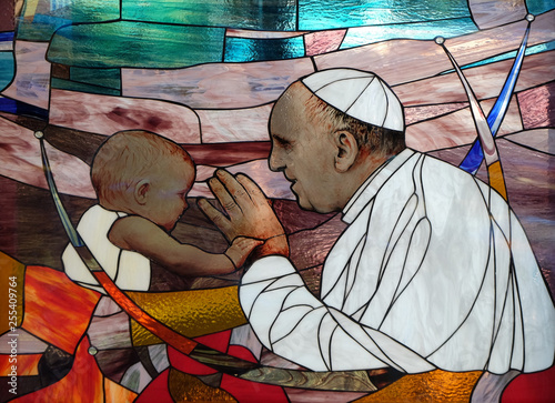 Pope Francis, stained glass window in St Paul's Cathedral in Tirana, Albania Fotobehang