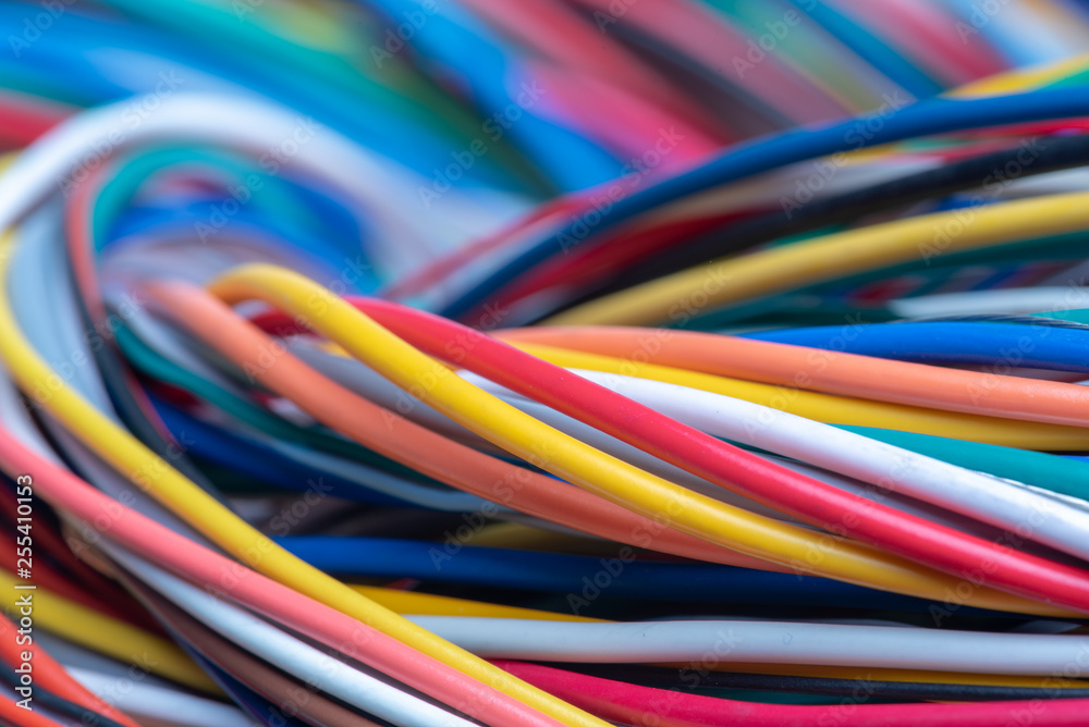 Fototapety, obrazy: Multicolored electrical computer cable