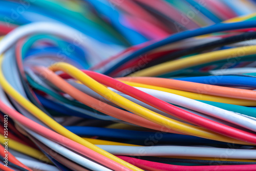 Obraz Multicolored electrical computer cable - fototapety do salonu