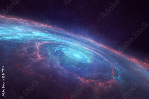 Obraz Universe with a spiral spinning galaxy in the center - fototapety do salonu