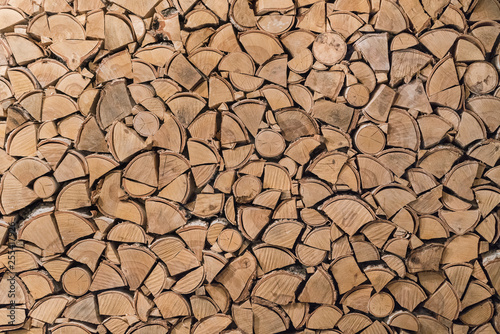 Wall Murals Firewood texture wood texture of split logs