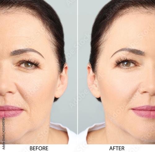 Obraz Closeup view of beautiful older woman on white background - fototapety do salonu