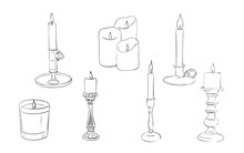 Hand Drawn Candles Collection, Vector
