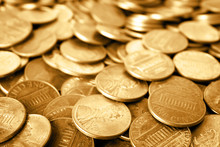 Many Shiny USA One Cent Coins ...