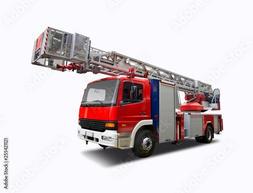 Photographie Fire truck crane isolated on white