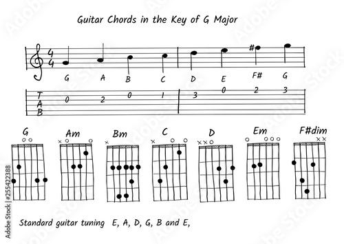 Guitar chord in the key of G major, Note and tab vector Canvas Print