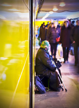 Beggar In Subway