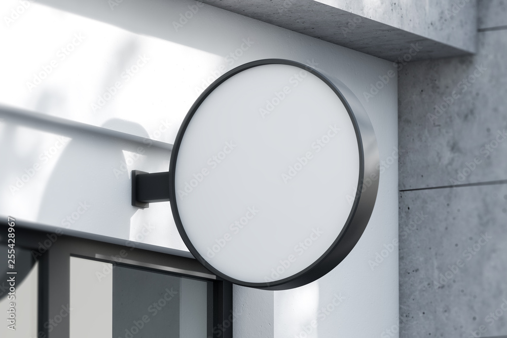 Fototapety, obrazy: Round sign with mock up company name on facade