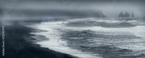 Fond de hotte en verre imprimé Taupe Famous Reynisfjara black beach on the south coast of Iceland from Durholaey cliff
