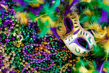 Mardi Gras Mask, Beads And Fea...